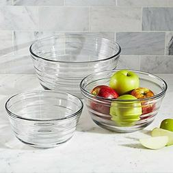 Baked Tempered 3 Glass Mixing Bowl Set Anchor Hocking Clear