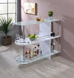 Kings Brand Furniture Bar Table with Two White Tempered Glas