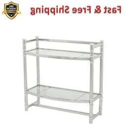 Bathroom Shelf Chrome Two Tempered Glass Shelves Wall Mount