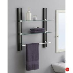 Bathroom Shelf Glass Tempered Wall Mount Towel Bars Black Mo