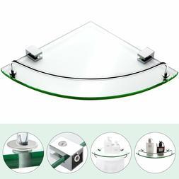 Bathroom Tempered Glass Corner Shelf Vdomus Stainless Steel