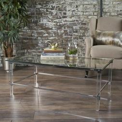 Bayor Modern Tempered Glass Coffee Table with Acrylic and Ir