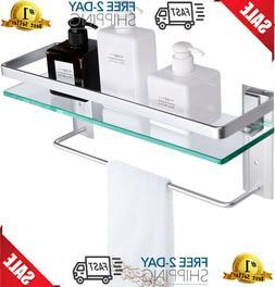 Best VDOMUS Tempered Glass Bathroom Shelf With Towel Bar Wal