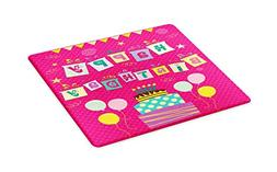 Ambesonne Birthday Party Cutting Board, Colorful Letters in