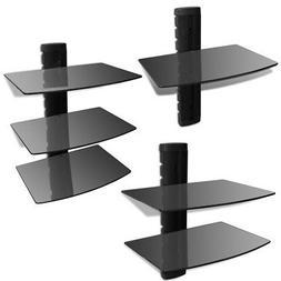 Black Floating DVD Shelf Glass Aluminum Frame Bracket Wall M