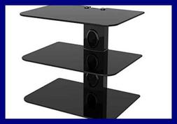 Gold Line 3 x Black Floating Shelves with Strengthened Tempe