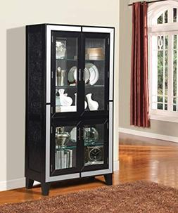 ACME Caree Black Faux Leather Curio Cabinet