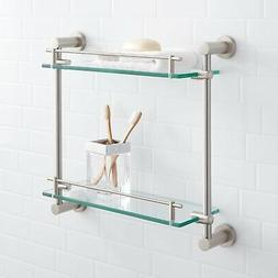 Signature Hardware Ceeley Tempered Glass Shelf with 2 Shelve