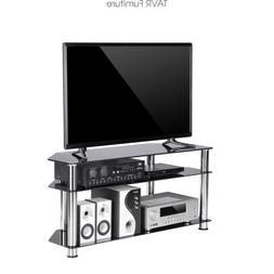 TAVR Black Tempered Glass Corner TV Stand Cable Management S
