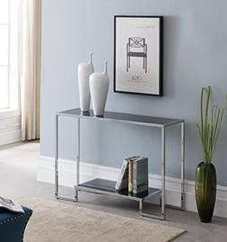 Chrome Finish / Black Glass Top 2-tier Console Sofa Table 44