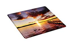 Ambesonne Coastal Cutting Board, Lake Rotorua Dramatic Sunri