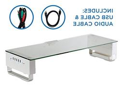 Computer Monitor Stand with 5 USB Ports Desktop Riser, Clear