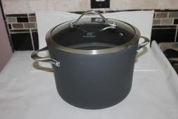 CALPHALON CONTEMPORARY N/S  8 QT STOCK POT WITH TEMPERED GLA