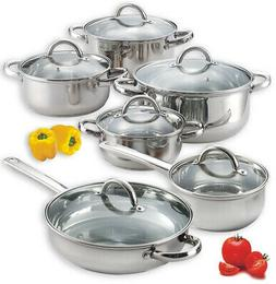 Cookware Set 12-Piece Kitchen Casserole Sauce Pan Stock Pot