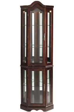 Corner Curio Cabinet with Mahogany Finish, Mirror Back