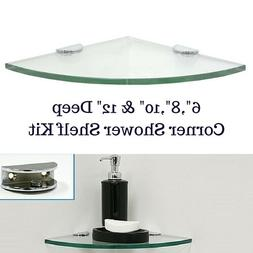 Corner Tempered Glass Shower Shelf Kit Rounded - With Half-R