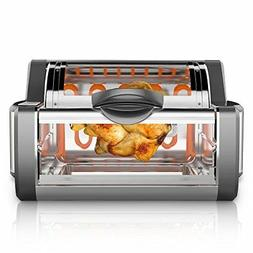 NutriChef Digital Countertop Rotisserie Oven -  Rotating Roa