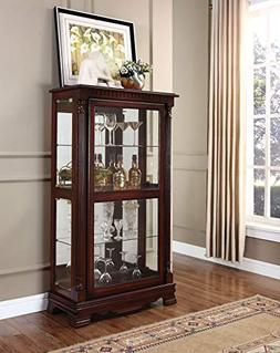 ACME Carrie Cherry Curio Cabinet with 4 Side Doors