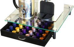 DecoBros Crystal Glass Wood Nespresso Storage Drawer Holder