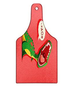 Ambesonne Dinosaur Cutting Board, Aggressive Prehistoric Car