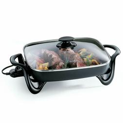 Electric Skillet Nonstick Frying Roasts Grills Tempered Glas