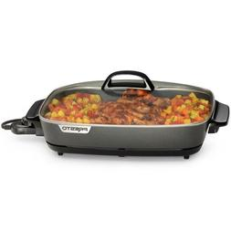 Electric Skillet Pan W/ Tempered Glass Cover 16 In. Cool Tou
