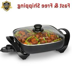 Electric Skillets 11 in Black Tempered Glass Lid Adjustable