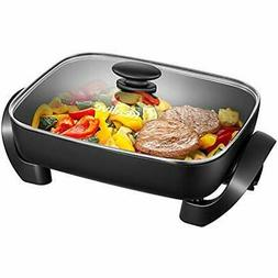 Electric Skillets Skillet, 15 Inch Nonstick With Tempered Gl