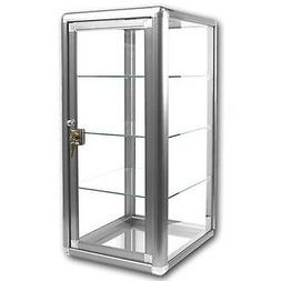 Elegant Silver Anodized Aluminum Vertical Display Case Table