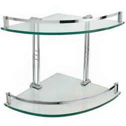 Signature Hardware Engel Tempered Glass Corner Shelf with 2
