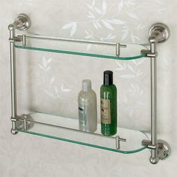 Signature Hardware Farber Tempered Glass Shelf with 2 Shelve