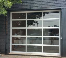Full View  Anodized Aluminum & Tempered Clear Glass Garage D