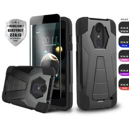 FUSION ARMOR COVER W/ STAND PHONE CASE FOR  +BLACK TEMPERED