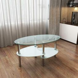Glass Coffee Table Casual Oval Tempered Glass Stainless Stee