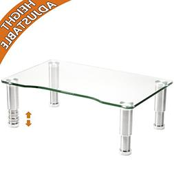 Clear Tempered Glass Computer Monitor Riser with Height Adju