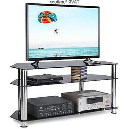 3-Tier Glass TV Stand Height Adjustable 47 to 52 IANIYA Floor TV Stand with Mount and Bracket for 32 to 65 Inches Plasma LCD LED Flat or Curved Screen TVs