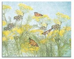 CounterArt 'Butterflies on Yellow' Glass Cutting Board, 15 x