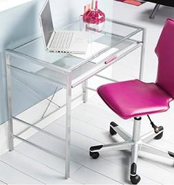 Glass Top Laptop Computer Desk PC Workstation Table Modern D