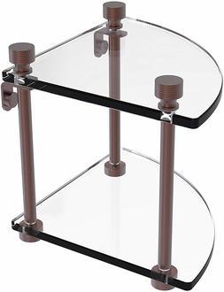Glass Shelf  Two Tier Corner Brass FT-3 Foxtrot Collection