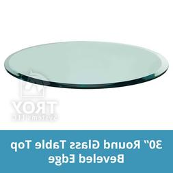 "Glass Table Top: 30"" Round, 3/8 Thick, Beveled Edge, Tempere"