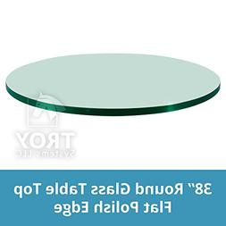 "TroySys Tempered Glass Table Top, 1/4"" Thick, Flat Polish Ed"