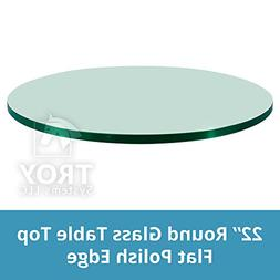 "Glass Table Top: 22"" Round, 1/4"" Thick, Flat Edge, Tempered"