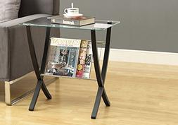 Small Glass Table Tempered Top Magazine Holder Bentwood Legs