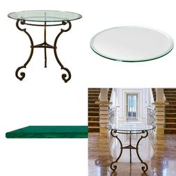 "Glass Table Top: 30"" Round, 3/8"" Thick, Beveled Edge, Temper"