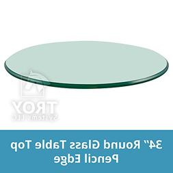 "Round Glass Table Top Clear Tempered 3/8"" Thick Glass With P"