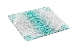 Ambesonne Grey and Teal Cutting Board, Mandala Ombre Sacred