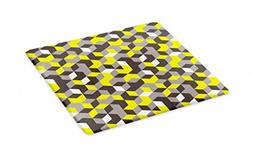 Ambesonne Grey and Yellow Cutting Board, 3D Print Inspired M