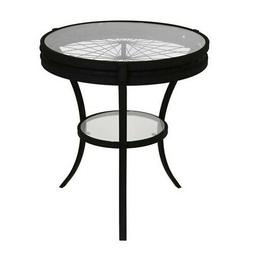 Monarch Specialties Hammered Black 20 Inch Round Accent Tabl