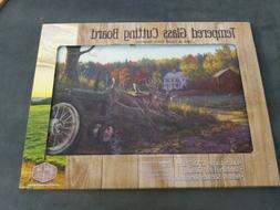 Harvest Farm Scene with Deer/Tractor Tempered Glass Cutting
