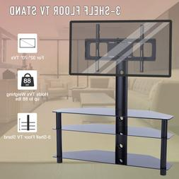 "Heavy-Duty 3-Glass-Shelf TV Stand Cabinet Fits 32""-70"" LED L"